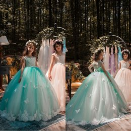 Mint color pageant dresses online shopping - 2018 Glitz Mint Green Flower Girls Dresses Ball Gown Lace Appliqued Butterflies Kids Girls Pageant Dresses For Weddings First Communion