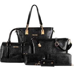 Chinese  Wholesale-Hot Sale Crocodile Handbag Composite PU Leather Bag Women Handbag Shoulder Crossbody Bag Handbag+Messenger Bag+rse+Wallet 6 sets manufacturers