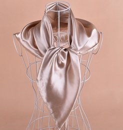 Wholesale Solid satin royan silk Hijabs Square Scarf,Neckscarf scarves 90*90cm 50pc lot #2086