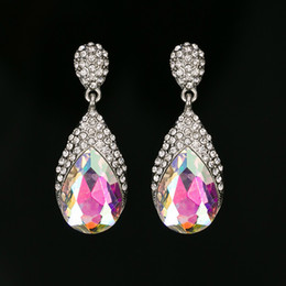 Discount vintage copper earrings dangle - New fashion long crystal drop earrings for women 3 color vintage silver plated bride Earrings wedding Jewelry accessorie