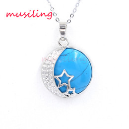 $enCountryForm.capitalKeyWord Australia - Stars Crescent Pendant Necklace Chain Silver Plated Natural Stone Amethyst Crystal etc Reiki Charms Accessories Fashion Jewelry For Women