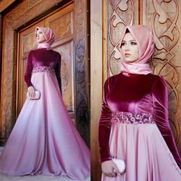 $enCountryForm.capitalKeyWord Canada - Muslim 2017 Fuchsia Velvet Long Sleeve Evening Dresses Long Cheap Chiffon Embroidery Formal Gowns Custom Made China EN110914