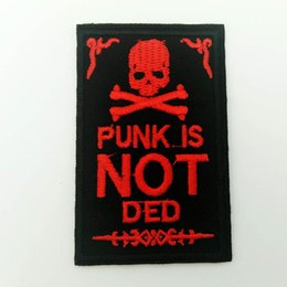 $enCountryForm.capitalKeyWord NZ - Iron on Retro Punk Red Skeleton PUNKISNOTDEAD Patches Embroidered Sewing Iron On Patch Badge