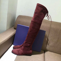 woman over knee flat boots NZ - 2018 New Suede Slim Female Boots Sexy over the knee high women snow boots women's fashion winter thigh high boots runway footwear flats 42