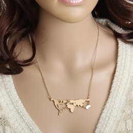 World map necklace online world map pendant necklace for sale european and american fashion jewelry world map necklace gold plating simple ornaments gumiabroncs Images