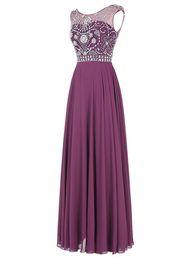 La Lights UK - Floor Length Evening Dress 2017 Robe Mere De La Mariee Cheap A Line Beaded Crystals Long Prom Dresses