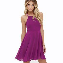 cea0c1e25f Black Lace Skater Dress UK - Hot Pink Cross Lace Up Backless Spaghetti  Strap Summer Short