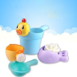 Developing Toys NZ - Bathroom bathing water toys memory material is not afraid of broken Meng chicken shampoo cup water spoon toys four sets