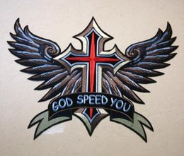 $enCountryForm.capitalKeyWord Canada - Motorcycle Club Patches 33cm*23.5cm GOD SPEED YOU Eagle Embroidered Biker Patches Big Cross Patch For Motor Jacket Vest High Quality