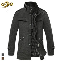Vestes Longues Moyennes Pas Cher-Vente en gros - Mode Solid Color Style Wool Blends Coats Stand Collar Single-breasted Wool Coat Winter Warm Jacket Medium-long Coat Hommes