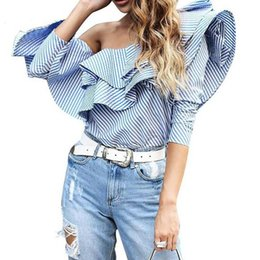 Quality Blouses Ruffles Canada - TOP QUALITY New Fashion Spring Summer Designer Blouse Women's One Shoulder Striped Ruffle Top Blouse Shirt
