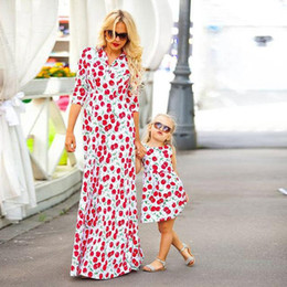mother daughters party dresses NZ - Mother Daughter Cherry Dresses Mom Girls Floral Print Dress 2020 Kids Girl Dress Women Beach Party Long Dress Family Match Clothes B430