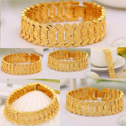 Discount love chains for couples - 3 Styles Classic Couple Heart Coin Bracelet 24K Gold Platinum Plated Chunky Lovely Bangles Fashion Jewelry Gift For Love