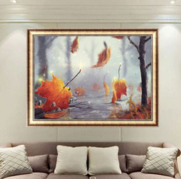 Pattern Decor Australia - DIY Diamond Paintings Maple Leaf Romantic Decor Picture Pattern Cross Stitch Diamond Paintings Embroidery Cross Home Decoration
