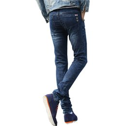 Barato Botões De Atacado Para Roupas-Wholesale- Spring Autumn 2017 Men Jeans Skinny Biker Jeans Botões Stretch Man Pencils Calças Blue Famous Brand Denim Jeans Clothes For Male