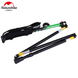 Red Handle Grips Australia - Wholesale- NatureHike 5 Joint Ultralight Aluminum Alloy Alpenstock Pole Folding Climbing Stick Adjustable Outdoor Canes Quick Lock with Bag