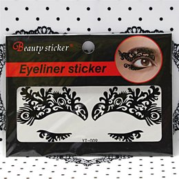 Autocollants Pour Tatouage Des Yeux Gros Pas Cher-Grossiste - 1 feuille Sexy Queen Lace Eye Shadow Stickers pour Night Club Party Maquillage Tattoo Halloween Face Autocollant BE001