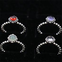 Venta al por mayor de Talla del anillo del encanto marcado 12 meses Regalos de cumpleaños Sólida plata de ley 925 Resultados de la joyería del estilo europeo para Pandora