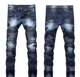 Distressed White Denim Shorts Canada - Men's Distressed Ripped Skinny Jeans Fashion Designer Mens Shorts Jeans Slim Motorcycle Moto Biker Causal Mens Denim Pants Hip Hop Men Jeans