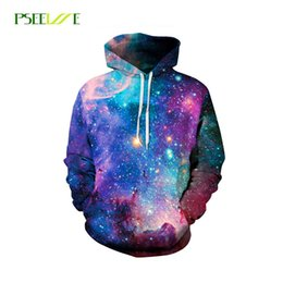 Barato Vestuário Grossista Anca-Atacado- PSEEWE Hoodies Space Galaxy Sweatshirt 3D Hoodie Hip Hop Coat Casual Streetwear Moda Hat Sweatshirt Men Women Brand Clothing