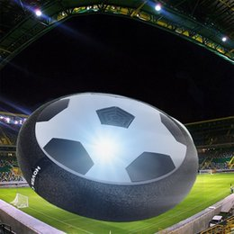 foam footballs wholesale Canada - Air Power Soccer Disc Pneumatic Suspended Football with Foam Bumpers and LED Lights Hover Disk Gliding Ball Disc Toy for Indoor and Outdoor