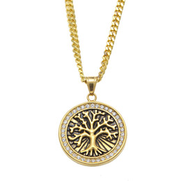 life gold Canada - Vintage Celtic Tree of Life Pendant Necklace Gold Plated Stainless Steel For Men Women Christmas Gifts