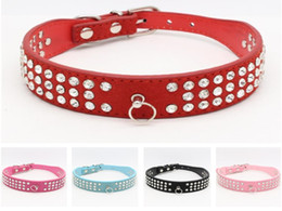 Discount leather diamante dog collars wholesale - 50pcs lot Fast shipping 3 Rows Rhinestones Leather Dog Collars Crystal Diamante Dogs Cat Puppy Collar 5 colors