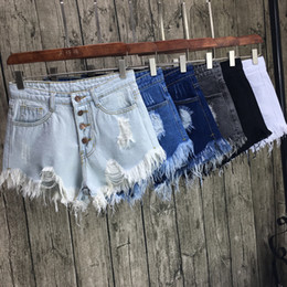 Distressed White Denim Shorts Canada - New Design Women's Casual Hole Short Jeans Distressed Denim Shorts Ripped Hole Hot Pants Vaqueros Mujer Mid Waist Shorts LZ
