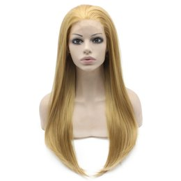 """$enCountryForm.capitalKeyWord Canada - 24"""" Long Blonde Silky Straight Half Hand Tied Heat Resistant Synthetic Fiber Lace Front Fashion Wig S02"""