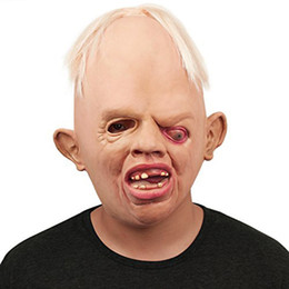 China Wholesale- High Quality Horrible Monster Adult Latex Masks Full Face Breathable Halloween Masquerade Mask Fancy Dress Party Cosplay Costume cheap high quality resin masks suppliers
