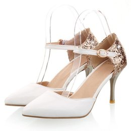 $enCountryForm.capitalKeyWord Canada - Plus size Bling strong fashion sense party pumps with stiletto heel and strap buckle for fashion women PP116