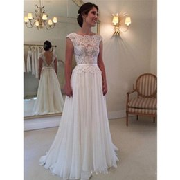 Princess A Line Wedding Dress Backless Modern Sash Bridal Gowns Custom Made Transparent Romantic Applique Short Sleeve Draped Lace Fashion
