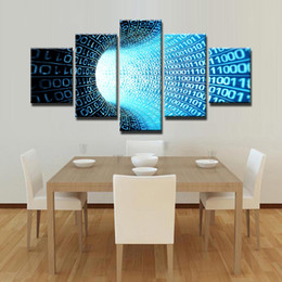 Canvas Art Prints For Sale NZ - Scientific 5 Panel Binary System Wall Painting Canvas Art HD Print Pictures for Home or Office Decor Modular Paintings Hot Sale Unframed