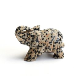VelVet crystal pouches online shopping - 2 INCHES Natural Dalmation Stone Carved Crystal Reiki Healing Elephant Statue with a Velvet Pouch