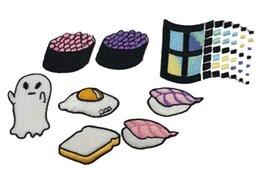 Omelette do pão do sushi do alimento de DIY ferro bordado costume das janelas no emblema 100% emb remendos da fábrica de China faz tudo o transporte livre