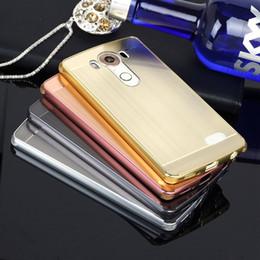 Acrylic Brush Case Canada - Case For LG V10 F600 H968 G4 pro Brush Acrylic Back Cover & Aluminum Metal Frame Set Phone Bag Fundas+TPU Anti-Knock