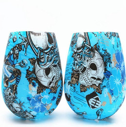 lampworking glasses UK - Silicone Wine Glasses Camouflage Lip Bohemia National Skull Bubble Water Bottle Outdoor Cups Beer Whiskey Glass Drinkware 9 Styles