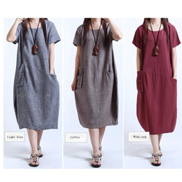 Robes En Gros En Vrac Pas Cher-Vente en gros de robes de femmes Casual Women Cotton Linge de manches courtes Long Loose Maxi Dress Sundress Clothes