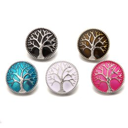 Chinese  N018 ginger snap jewelry enamel tree of life chunks 18mm snap bracelet noosa buttons women snap jewelry for pendant necklace manufacturers