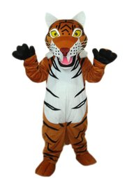 Barato Ventilador De Cabeça De Mascote-Hot Sale Brown stripe Tiger Mascot Costume para adultos Cartoon Animal Mascots para venda halloween Birthday Party vestidos de palco com fã-cabeça