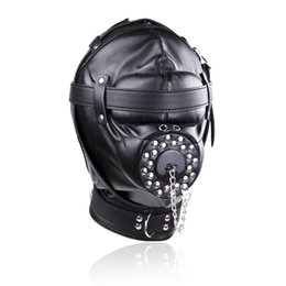 Restricción De La Boca Bdsm Baratos-Fetish Leather Bondage Hood Abra la boca Sexo Esclavo Máscara de la mordaza Bdsm Bondage Retenes Erotic Sex Toys For Couples