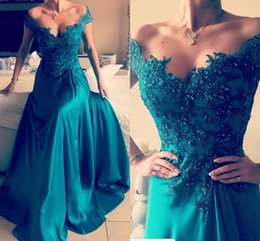 Barato Vestido De Baile De Formatura Turquesa-Elegant Turquesa Verde Off Shoulder Evening Dresses Applique Sequins Elastic Satin Split Side Backless Evening Vestidos Formais Sexy Prom Dress