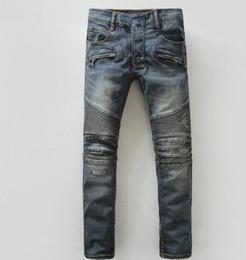 4c3bb832 2019 men Holes Jeans Fashion Biker Denim Jeans Distrressed Knee Drape Panel  Moto Biker Jeans for men