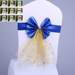 craft chair 2019 - 10 Colors Elastic Chair Sash Bow Ties for Banquet Wedding Party Lace Butterfly Craft Party Decoration cheap craft chair