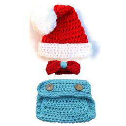 knitted toddler hat UK - Novelty Newborn Santa Elf Costume,Handmade Knit Crochet Baby Boy Girl Christmas Hat,Bowtie and Diaper Cover Set,Infant Toddler Photo Prop