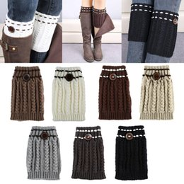 Barato Aquecedor De Pernas Barato-Venda por atacado - Hot New Fashion Womens Winter Warm Leg Warmers Soft Crochet Knitted Boot Socks Button Boot Cuffs calentadores piernas Cheap Z2