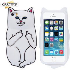$enCountryForm.capitalKeyWord Canada - KISSCASE Soft Silicon Cat Case For iPhone 7 6 6s Plus 5 5s Cases 3D Cartoon Rubber Middle Finger Cover For iPhone 6 6s Coque