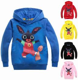 Cartoon Rabbit Hoodies Australia - Bing Bunny Cartoon Print Hoodies Coats for Boys Rabbit Full Sleeves Hoody Sweatshirts for Children Costumes