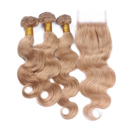 closures wave UK - Honey Blonde Brazilian Human Hair 4x4 Lace Closure With 3 Bundles Body Wave #27 Strawberry Blonde Color Virgin Human Hair Wefts With Closure