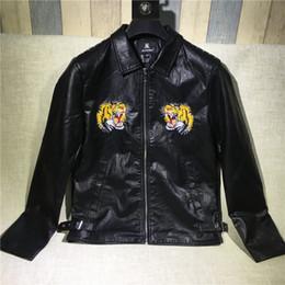 $enCountryForm.capitalKeyWord Canada - 2017 autumn luxury embroidery tiger leather fur coat animals pattern rivet full zip black men womens hip hop jacket